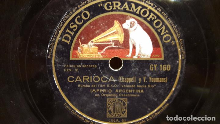 Discos de pizarra: PIZARRA !! IMPERIO ARGENTINA. ROMANZA RUSA / CARIOCA. / DISCO GRAMOFONO - 25 CM. - Foto 2 - 69782241