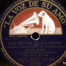 Discos de pizarra: PIZARRA !! JUANITA REINA. LOS DEDOS DE LA MANO / MARIA AMPARO / LA VOZ DE SU AMO - 25 CM.. Lote 69824417