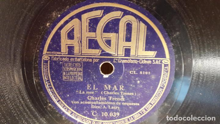 PIZARRA !! CHARLES TRENET. EL MAR / FUE MI SOLEDAD / A. LASRY / REGAL - 25 CM. (Música - Discos - Pizarra - Solistas Melódicos y Bailables)