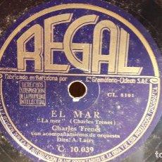 Discos de pizarra: PIZARRA !! CHARLES TRENET. EL MAR / FUE MI SOLEDAD / A. LASRY / REGAL - 25 CM.. Lote 71558815