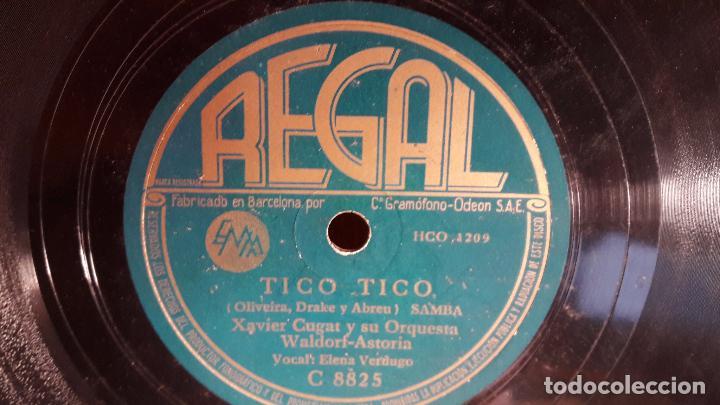 PIZARRA !! XAVIER CUGAT Y SU ORQUESTA. TICO TICO / CU-TU-GU-RU / REGAL - 25 CM. (Música - Discos - Pizarra - Solistas Melódicos y Bailables)