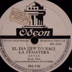 Discos de pizarra: PIZARRA !! JOSÉ OTO. JOTAS ARAGONESAS / JOTAS. CON RONDALLA. ODEON - 25 CM / BUENA CALIDAD.. Lote 72148675