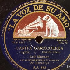 Discos de pizarra: PIZARRA !! LUIS MARIANO. CARITA CARACOLERA / ECUADOR. / LA VOZ DE SU AMO - 25 CM.. Lote 207124491