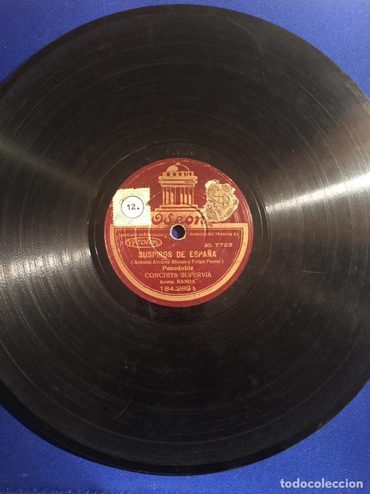 DISCO GRAMÓFONO EDEON. SUSPIROS DE ESPAÑA. RUBORES. PASODOBLE CONCHITA SUPERVIA. (Música - Discos - Pizarra - Flamenco, Canción española y Cuplé)