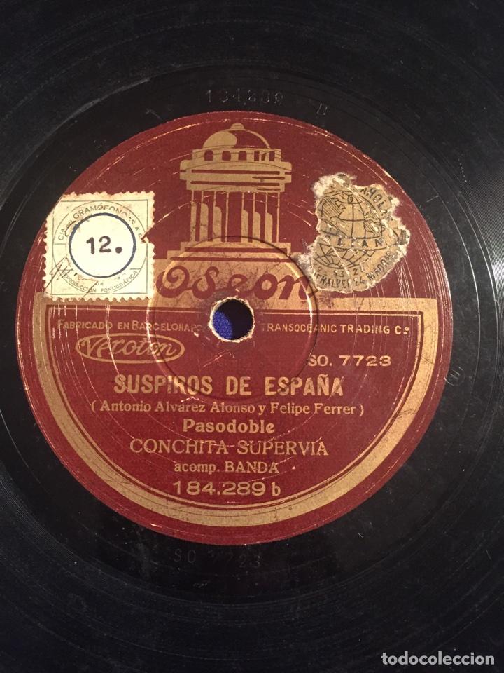 Discos de pizarra: Disco gramófono Edeon. Suspiros de España. Rubores. Pasodoble Conchita Supervia. - Foto 2 - 72407853