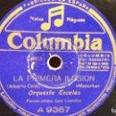 Discos de pizarra: PIZARRA !! ORQUESTA ESCALAS. LA PRIMERA ILUSIÓN / JOSÉ CARCELLER / COLUMBIA 25 CM.. Lote 73689979