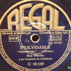 Discos de pizarra: PIZARRA !! RAY MARTIN Y SU ORQUESTA. INOLVIDABLE / TANGO AZUL / REGAL - 25 CM.. Lote 73738679