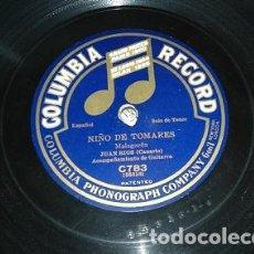 Discos de pizarra: MALAGUEÑA DE NIÑO DE TOMARES Y JUAN BREVA CANTADOS POR JUAN RIOS ( CANARIO ). Lote 75922575