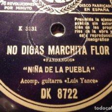 Discos de pizarra: DISCO DE PIZARRA - LA NIÑA DE LA PUEBLA - ESE TRAJE NEGRO / NO DIGAS MARCHITA FLOR - REGAL DK 8722. Lote 77440225