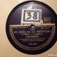 Discos de pizarra: DISCO DE PIZARRA - PEPE CÓRDOBA - SI EL CARIÑO SE CONTARA / DE JEREZ DE LA FRONTERA - ODEON 185.046. Lote 77446481