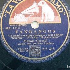 Discos de pizarra: MANOLO CARACOL CON PACO AGUILERA PIZARRA AA315 DIFÍCIL. Lote 77617045