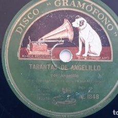 Discos de pizarra: ANGELILLO CON M. BORRULL - TARANTAS DE ANGELILLO AE1848 RARÍSIMO. Lote 77617605