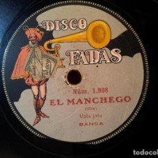Discos de pizarra: SCHOTTISH EL JINETE Nº 1909 Y VALS JOTA EL MANCHEGO Nº 1908 DISCO PIZARRA FADAS....REF-1AC. Lote 77944637