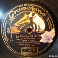 Discos de pizarra: DISCO GRAMOFONO .EL CARRO DEL SOL Y LA CANCION DEL OLVIDO-INOCENCIO NAVARRO....(REF-1AC). Lote 77947581