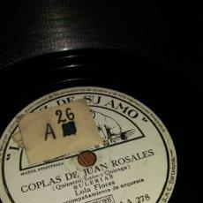 Discos de pizarra: DISCO DE PIZARRA LOLA FLORES CON ACOMPAÑAMIENTO DE ORQUESTA. Lote 78175215