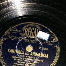 Discos de pizarra: CANTARES DE ANDALUCÍA GUAJIRA Y SOLEARES. Lote 78176823