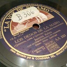 Discos de pizarra: DISCO DE GRAMÓFONO (PIZARRA). JUANITA REINA. PASODOBLE. QUINTERO, LEÓN Y QUIROGA.. Lote 78306635