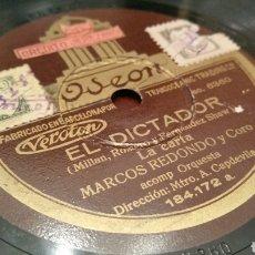 Discos de pizarra: DISCO DE GRAMÓFONO (PIZARRA). EL DICTADOR Y BENAMOR. ODEON. Lote 78311841