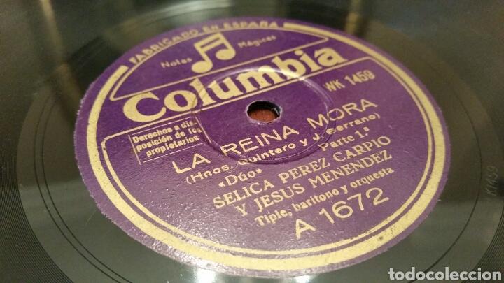 DISCO DE GRAMÓFONO (PIZARRA). LA REINA MORA. COLUMBIA. (Música - Discos - Pizarra - Flamenco, Canción española y Cuplé)