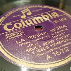 Discos de pizarra: DISCO DE GRAMÓFONO (PIZARRA). LA REINA MORA. COLUMBIA.. Lote 78315143