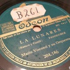 Discos de pizarra: DISCO DE GRAMÓFONO (PIZARRA). LA LUNARES (PASODOBLE) Y HA NACIDO UNA ESTRELLA (FOX). ODEON.. Lote 78320477