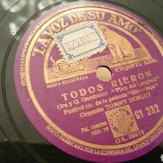 Discos de pizarra: DISCO DE GRAMÓFONO (PIZARRA). TODOS RIERON Y TENGO SUERTE DE PRINCIPIANTE. ORQUESTA TOMMY DORSEY.. Lote 78348865