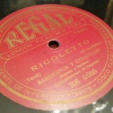 Discos de pizarra: DISCO DE GRAMÓFONO (PIZARRA). RIGOLETTO Y PESCATORI DI PERLE. REGAL. 78 REV.. Lote 78506370