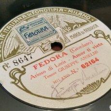 Discos de pizarra: DISCO DE GRAMÓFONO (PIZARRA). MANON Y FEDORA. GIUSEPPE ANSELMI. 78 REV.. Lote 78563455
