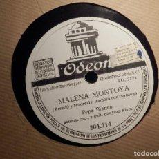 Discos de pizarra: DISCO DE PIZARRA - PEPE BLANCO - MALENA MONTOYA / SERVA LA BARI - ODEON 204.114. Lote 80540085