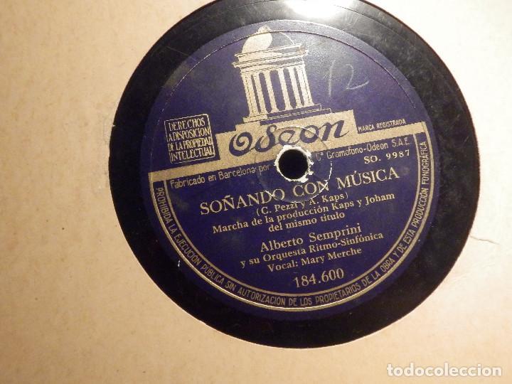 DISCO DE PIZARRA - MARY MERCHE CON ALBERTO SEMPRINI - ARSA Y OLÉ - SOÑANDO CON MÚSICA -ODEON 184.600 (Música - Discos - Pizarra - Flamenco, Canción española y Cuplé)