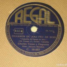 Discos de pizarra: CHARLES TRENET - CHANSON DU JOLI FEU DE BOIS - PAPA PIQUE . Lote 82212172