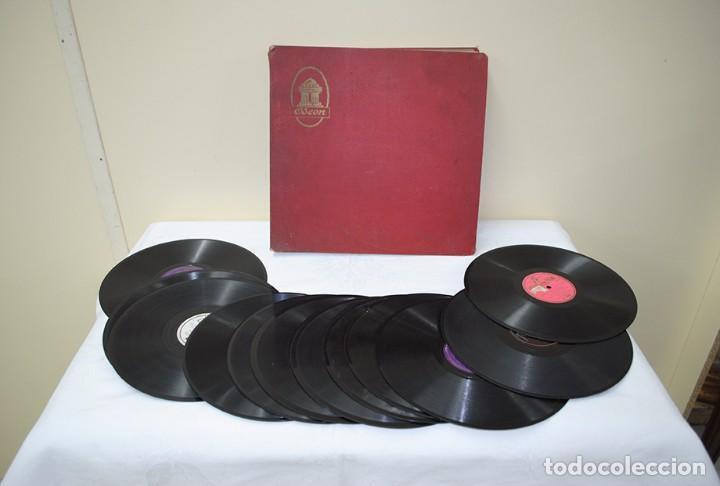 Discos de pizarra: ESTUCHE DE ONCE DISCOS DE PIZARRA ANTIGUOS - Foto 2 - 82655284