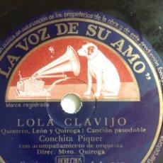 Discos de pizarra: DISCO DE PIZARRA 78 RPM PARA GRAMÓFONO.CONCHA CONCHITA PIQUER LOLA CLAVIJO ROMANCE DE LA OTRA. Lote 84611975