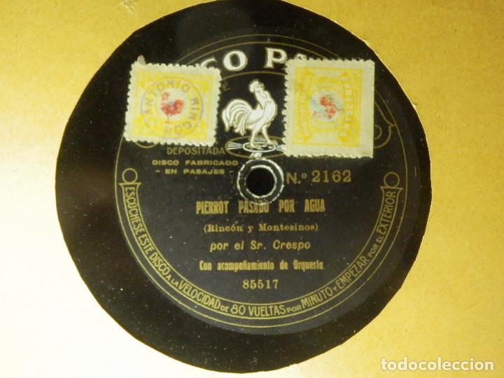 DISCO PIZARRA - PIERROT PASADO POR AGUA Y EL BASTONERO DE COVARRUBIAS - SR. CRESPO DISCO PATHE 85518 (Música - Discos - Pizarra - Clásica, Ópera, Zarzuela y Marchas)
