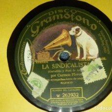 Discos de pizarra: DISCO DE PIZARRA - LA SINDICALISTA Y LA BANDOLERA BRAVA - CARMEN FLORES - GRAMOFONO. Lote 85148124