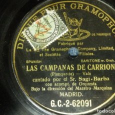 Dischi in gommalacca: DISCO DE PIZARRA - LAS CAMPANAS DE CARRION - SAGI BARBA - GRAMPPHONE - 62091. Lote 85173472