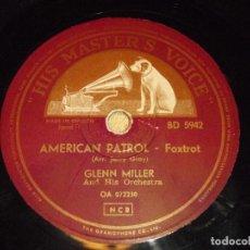 Discos de pizarra: GLENN MILLER AND HIS ORCHESTRA ( AMERICAN PATROL - MOONLIGHT SERENADE ) HMV. Lote 206387628