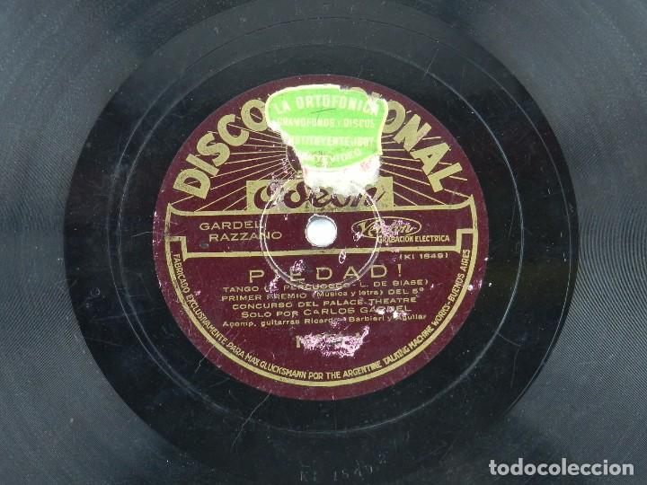 DISCO DE PIZARRA NOVIECITA MIA / PIEDAD, POR CARLOS GARDEL, ED. ODEON. (Música - Discos - Pizarra - Solistas Melódicos y Bailables)