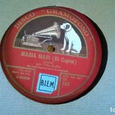 Discos de pizarra: MARIA MARI ( DI CAPUA ) TORNA A SURRIENTO . Lote 86018616