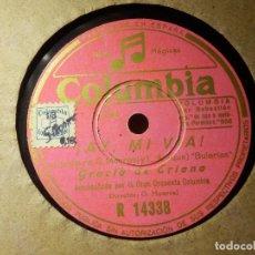 Discos de pizarra: DISCO PIZARRA GRAMÓFONO - GRACIA DE TRIANA - AY MI VIA. - LOS PASTORCITOS - COLUMBIA. Lote 87527032