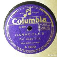 Discos de pizarra: DISCO PIZARRA GRAMÓFONO - ANGELILLO - CARACOLES - TENGO UNA JACA PIA - COLUMBIA. Lote 87528408