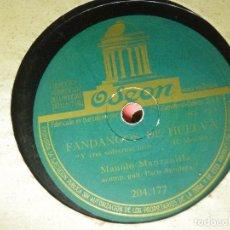 Discos de pizarra: DISCO PIZARRA GRAMÓFONO - MANOLO MANZANILLA - Y CREI VOLVERME LOCO - ALEGRIAS DE CAI - ODEON. Lote 87555656