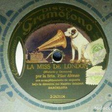 Discos de pizarra: DISCO PIZARRA GRAMÓFONO - SRTA. PILAR ALONSO - LA MISS DE LONDON - NENA - ORQ. MAESTRO GELABERT. Lote 87595316
