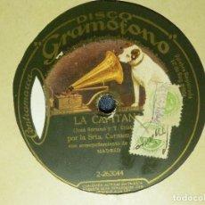 Discos de pizarra: DISCO PIZARRA GRAMÓFONO - CARMEN FLORES - CAPITANA - ¡ VALENCIA ! - ACOMPAÑA ORQ. MADRID. Lote 87618408