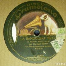 Discos de pizarra: DISCO PIZARRA GRAMÓFONO - CARMEN FLORES - LA BANDOLERA BRAVA - LA SINDICALISTA - ACOMPAÑA ORQ.MADRID. Lote 87618428