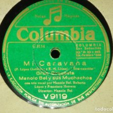 Discos de pizarra: DISCO PIZARRA GRAMÓFONO - MANOLO BEL Y SUS MUCHACHOS - BAJO MI CIELO ANDALUZ - LA CARAVANA. Lote 87619352