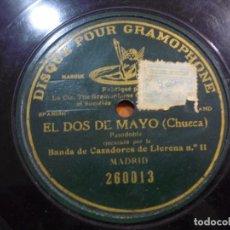 Discos de pizarra: BANDA DE CAZADORES DE LLERENA Nº 11 MADRID - EL DOS DE MAYO(CHUECA) PIZARRA 260013. Lote 88346044