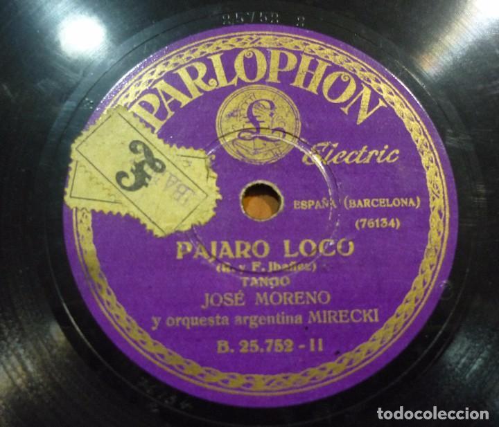 JOSÉ MORENO Y SU ORQUESTA ARGENTINA MIRECKI - ESTA NOCHE ME EMBORRACHO / PÁJARO LOCO - B.25.752 (Música - Discos - Pizarra - Otros estilos)