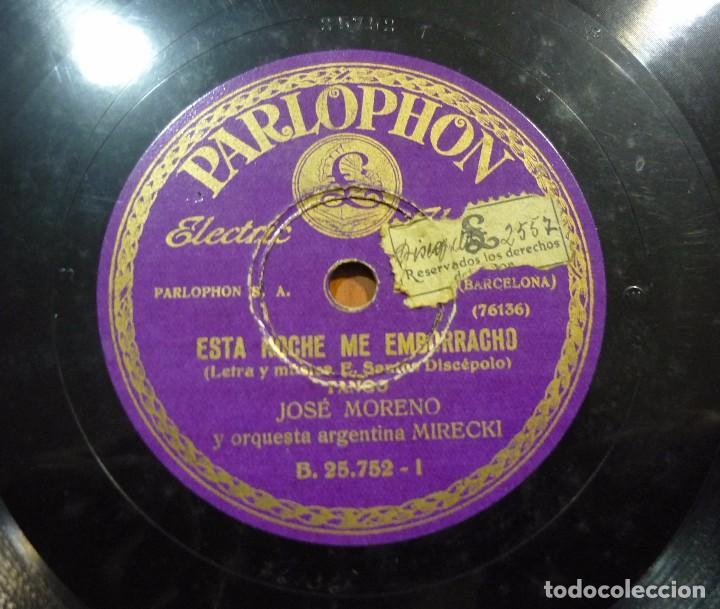 Discos de pizarra: JOSÉ MORENO Y SU ORQUESTA ARGENTINA MIRECKI - ESTA NOCHE ME EMBORRACHO / PÁJARO LOCO - B.25.752 - Foto 2 - 88355952