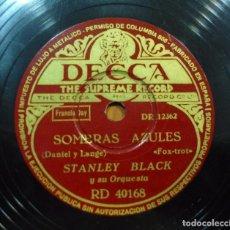 Discos de pizarra: STANLEY BLACK Y ORQUESTA - LA NOCHE TIENE MIL OJOS / SOMBRAS AZULES - PIZARRA 10'' DECCA - RD 40168. Lote 88514848